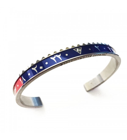 Speedometer Official - Steel Dual Time Arabic Bangle w Diamond | Red & Blue