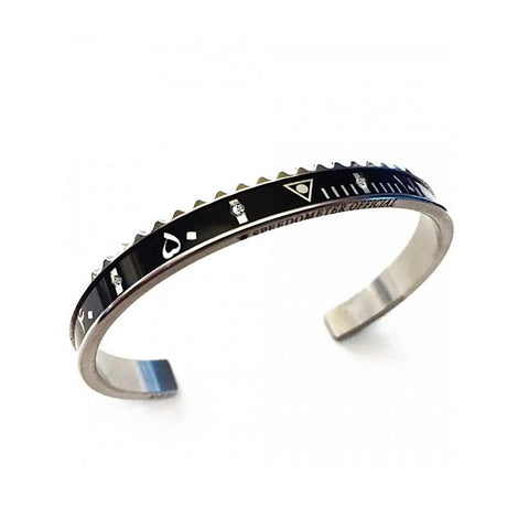 Speedometer Official - Steel Arabic Bangle w Diamonds | Black