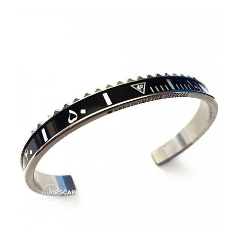 Speedometer Official - Steel Arabic Bangle w Diamond | Black