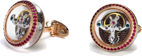 TF Est 1968 - Tourbillon Rose Gold Cufflink w/ Rubies | CT-RG03R