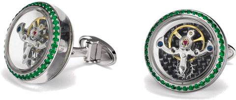 TF Est 1968 - Tourbillon White Gold Cufflink w/ Emeralds | CT-WG01E