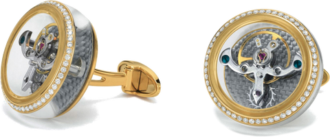 TF Est 1968 - Tourbillon Yellow Gold Cufflink w/ Diamonds | CT-YG01D