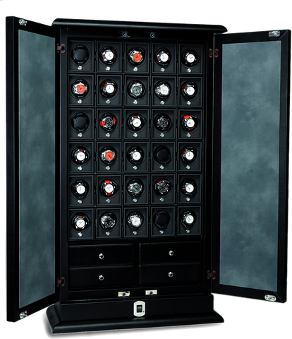 UNDERWOOD (LONDON) - Leather 30-Unit Biometric Cabinet | UN3222/BLK