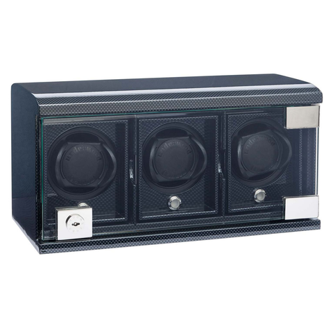 Carbon Black 3 Module Underwood Leather Watch Winder