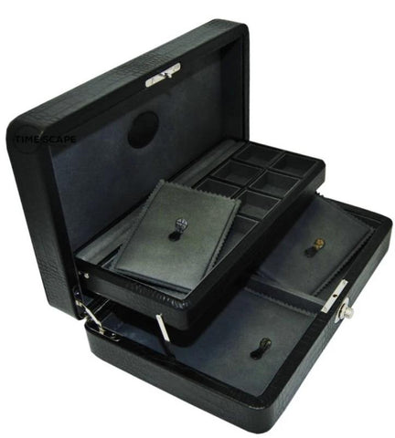 UNDERWOOD (LONDON)  - Croco Jewelry Case with Tray | UN206/CBLK