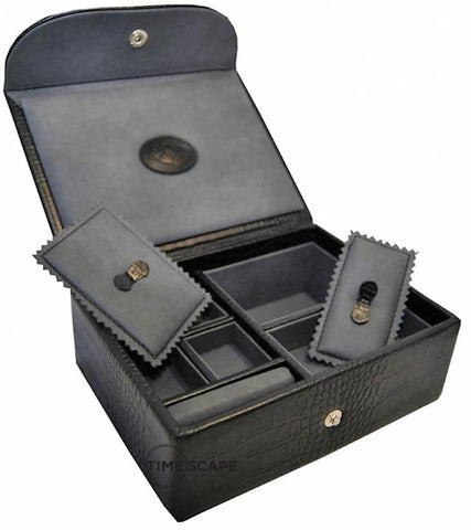 UNDERWOOD (LONDON) - Small Croco Watch & Jewelry Box | UN216/CBLK