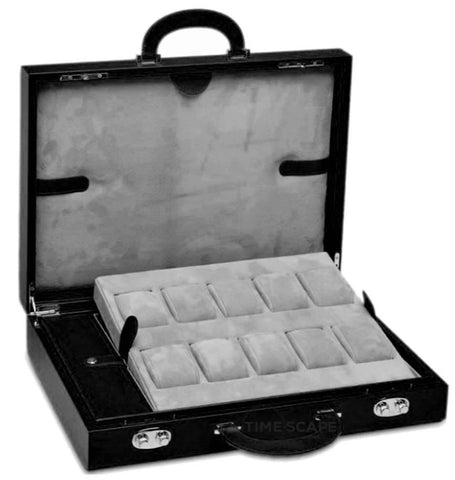 UNDERWOOD (LONDON) - 10-Unit Leather Watch Attache Case | UN120/BLK