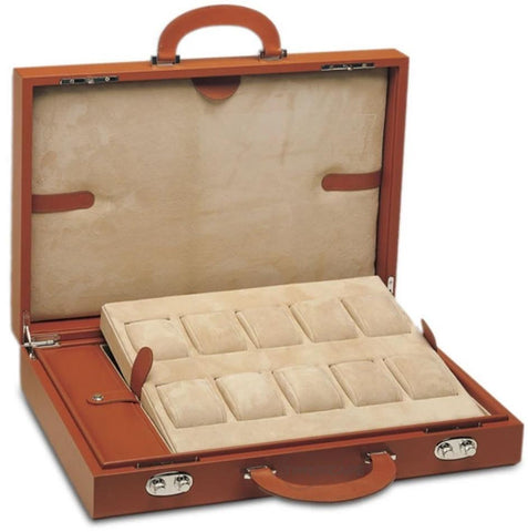 UNDERWOOD (LONDON) - 10-Unit Leather Watch Attache Case | UN120/TAN