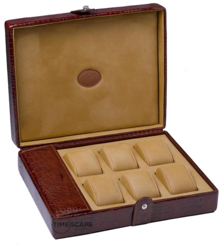 UNDERWOOD (LONDON) - 6-Unit Croco Watch Box w Compartment | UN232/CBRW