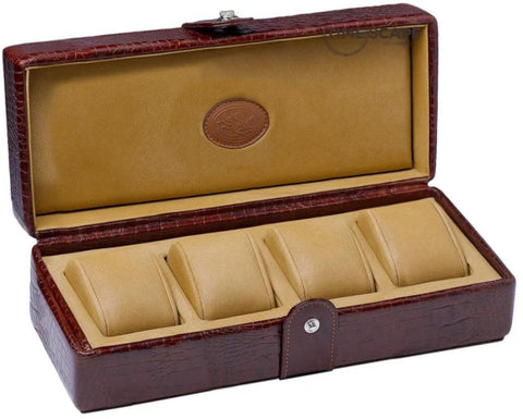 UNDERWOOD (LONDON) - 4-Unit Croco Watch Box  | UN234/CBRW
