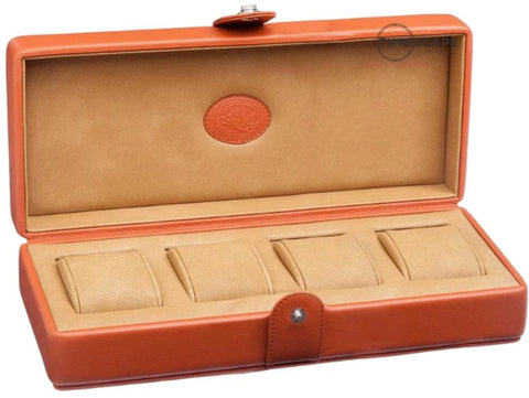 UNDERWOOD (LONDON) - 4-Unit Leather Watch Box  | UN234/TAN
