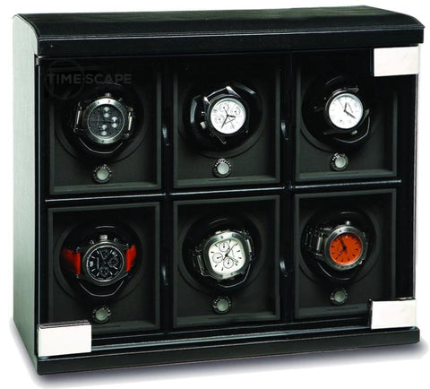 UNDERWOOD (LONDON) - Classic Leather 6-Unit Watch Winder | UN814/BLK