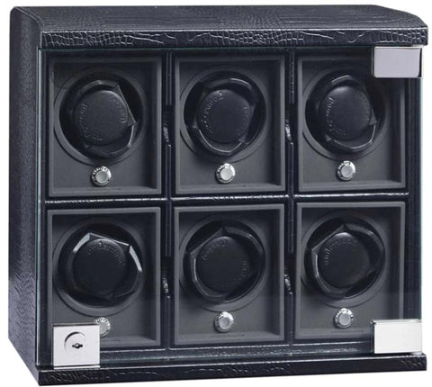 UNDERWOOD (LONDON) - Classic Croco 6-Unit Watch Winder | UN814/CBLK