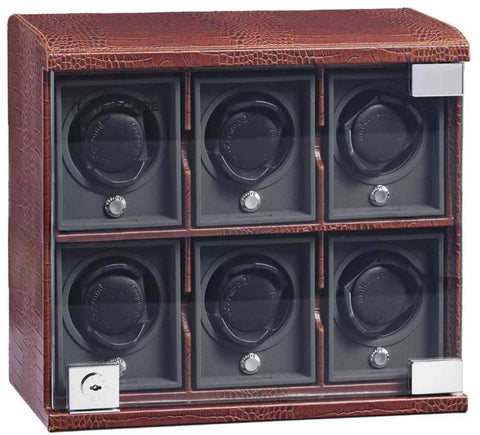 UNDERWOOD (LONDON) - Classic Croco 6-Unit Watch Winder | UN814/CBRW