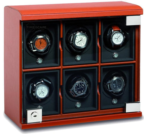 UNDERWOOD (LONDON) - Classic Leather 6-Unit Watch Winder | UN814/TAN