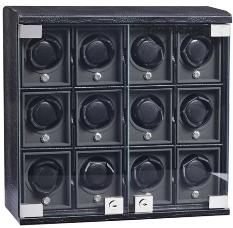 UNDERWOOD (LONDON) - Classic Croco 12-Unit Watch Winder | UN818/CBLK