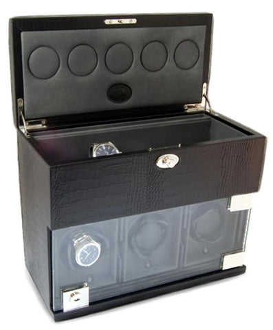 UNDERWOOD (LONDON) - Classic Croco 3-Unit Watch Winder w Watch Storage | UN870/CBLK