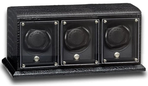 UNDERWOOD (LONDON) - EvO Croco 3-Unit Watch Winder | UN9007/CBLK