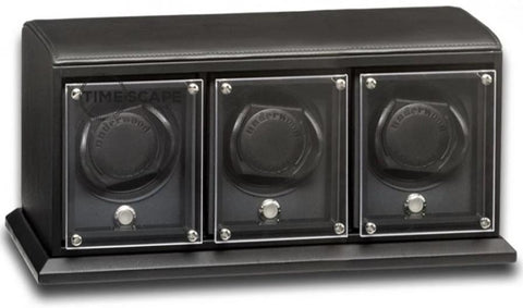 UNDERWOOD (LONDON) - EvO Leather 3-Unit Watch Winder | UN9007/BLK