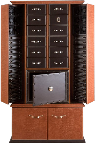 UNDERWOOD (LONDON) - Leather 12-Unit Biometric Cabinet with Safe | UN3000/CBRW