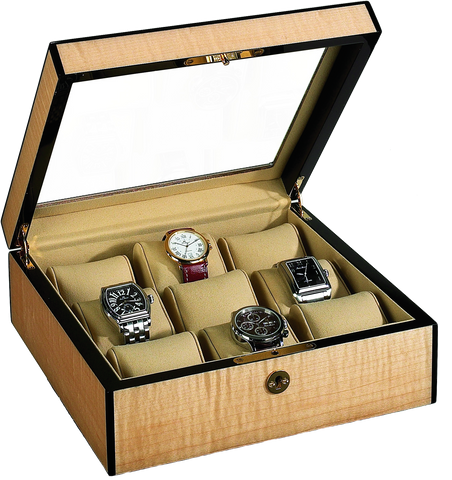 Venlo - 9 Watch Storage Case w Glass | Blonde