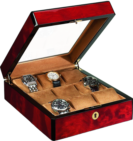 Venlo - 9 Watch Storage Case w Glass | Burlwood