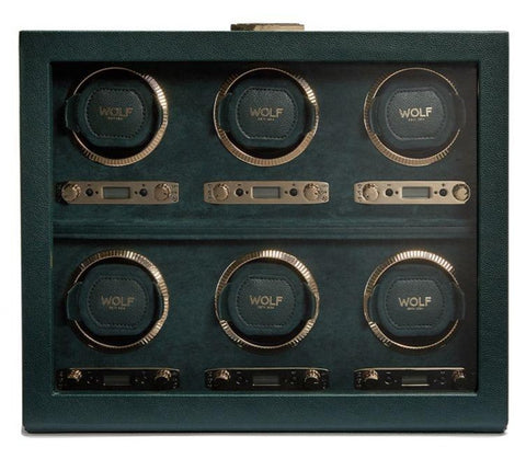 Wolf - British Racing Green 6-Unit Watch Winder |  792441