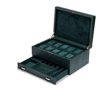 Wolf - British Racing Green 10-Unit Watch Box w Storage | 792841