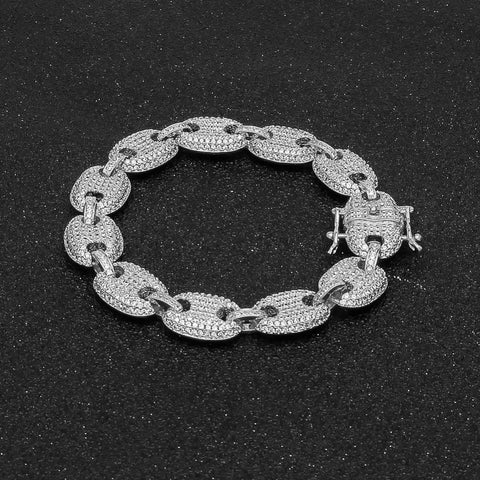 Silver - Iced Out Gucci Link Bracelet