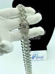 "Silver Prong Cuban Link Iced Out Necklace (22"" length)"