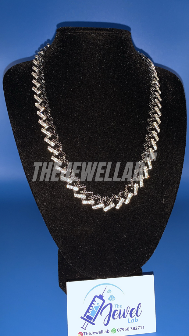 "Silver/Black Prong Cuban Link Iced Out Necklace (22"" length)"