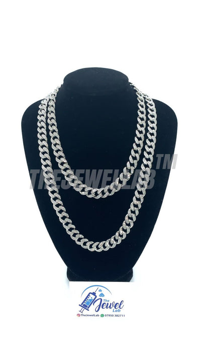 13mm Silver Cuban Link Iced Out Necklace