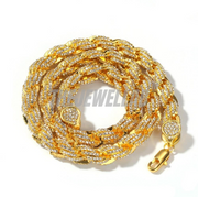 9MM Iced Out Twisted Rope Chain (GOLD)