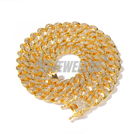 Gold Cuban Link Iced Out Necklace - 13mm