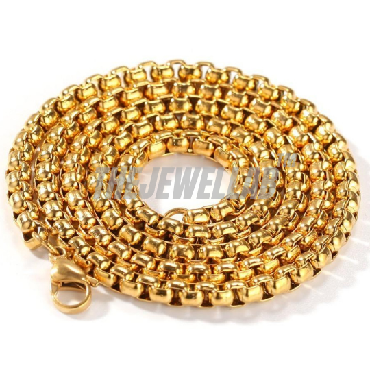 5MM Gold Stainless Steel Box Necklace