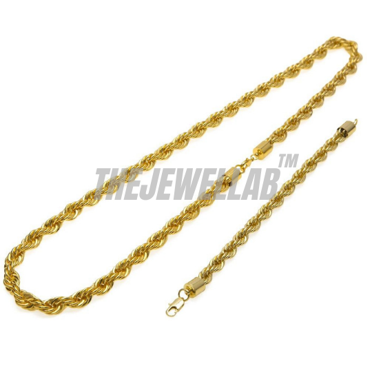 10MM Gold Rope Chain Necklace and Bracelet