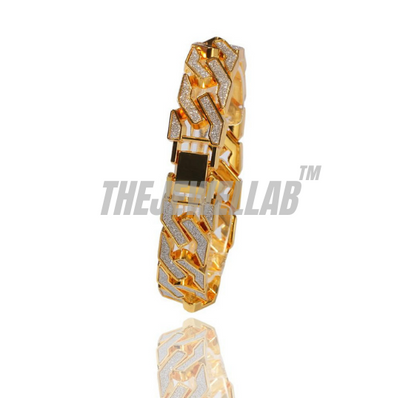 Gold - Iced out Sand Blasted Bracelet