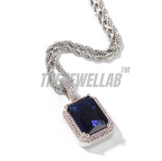 Silver Gem Stone Pendant - With Chain