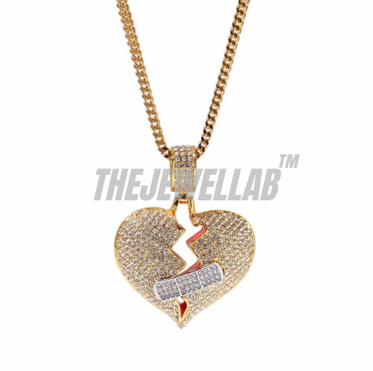 Gold - Iced Out Heart Pendant + Chain