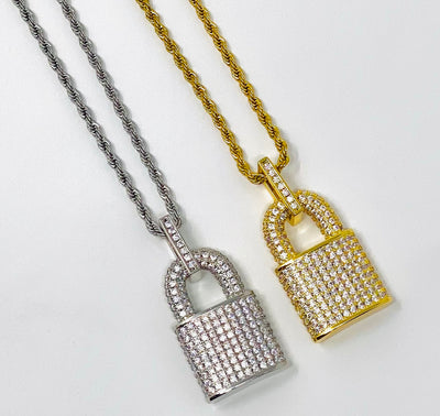 PadLock Pendant with Rope Chain