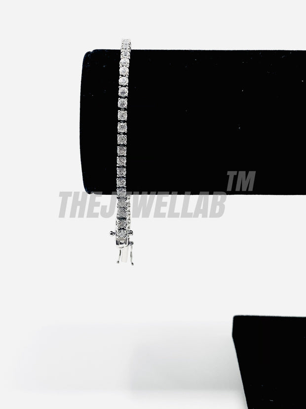 3mm Iced Out Tennis Silver Bracelet