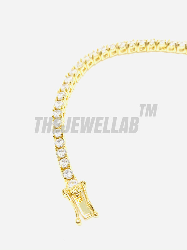 3mm Iced Out Tennis Gold Bracelet
