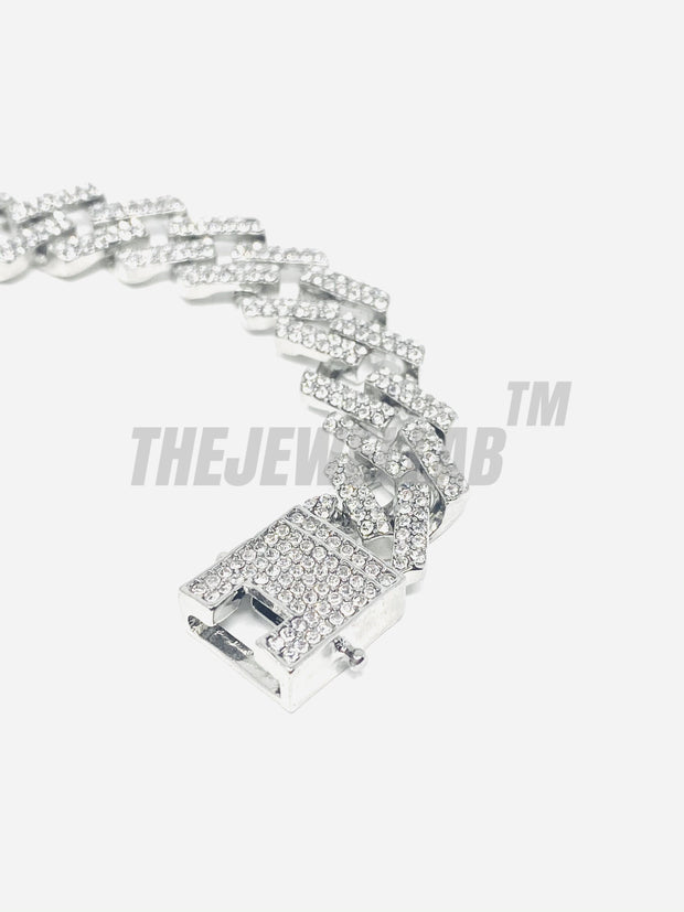 15MM Prong Set Iced Out Bracelet - Silver
