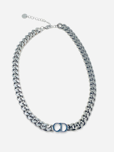 Silver - CD Stainless Steel Women's Chocker Necklace