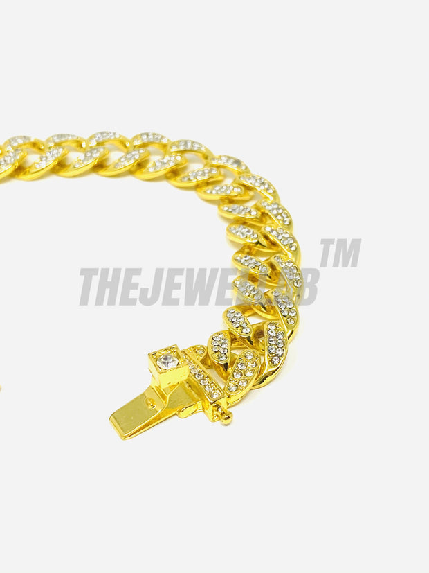Gold- Iced Out 13MM Cuban Bracelet