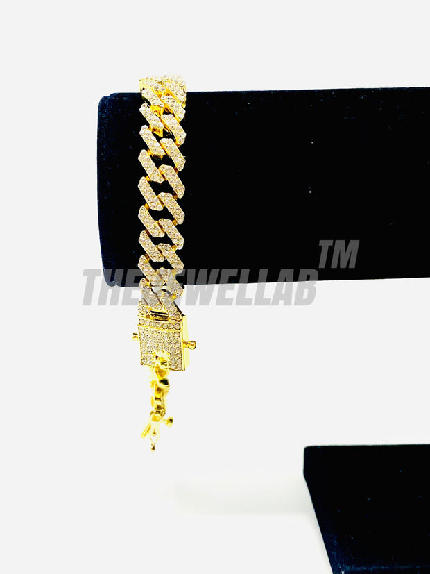 12MM S-Link Lab CZ Diamond Bracelet (GOLD)