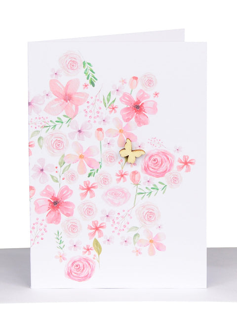 Pink Flowers Message Card (blank inside)