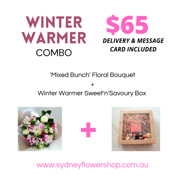 Mixed Bunch Floral Bouquet & Winter Warmer Sweet'n'Savoury Box Combo