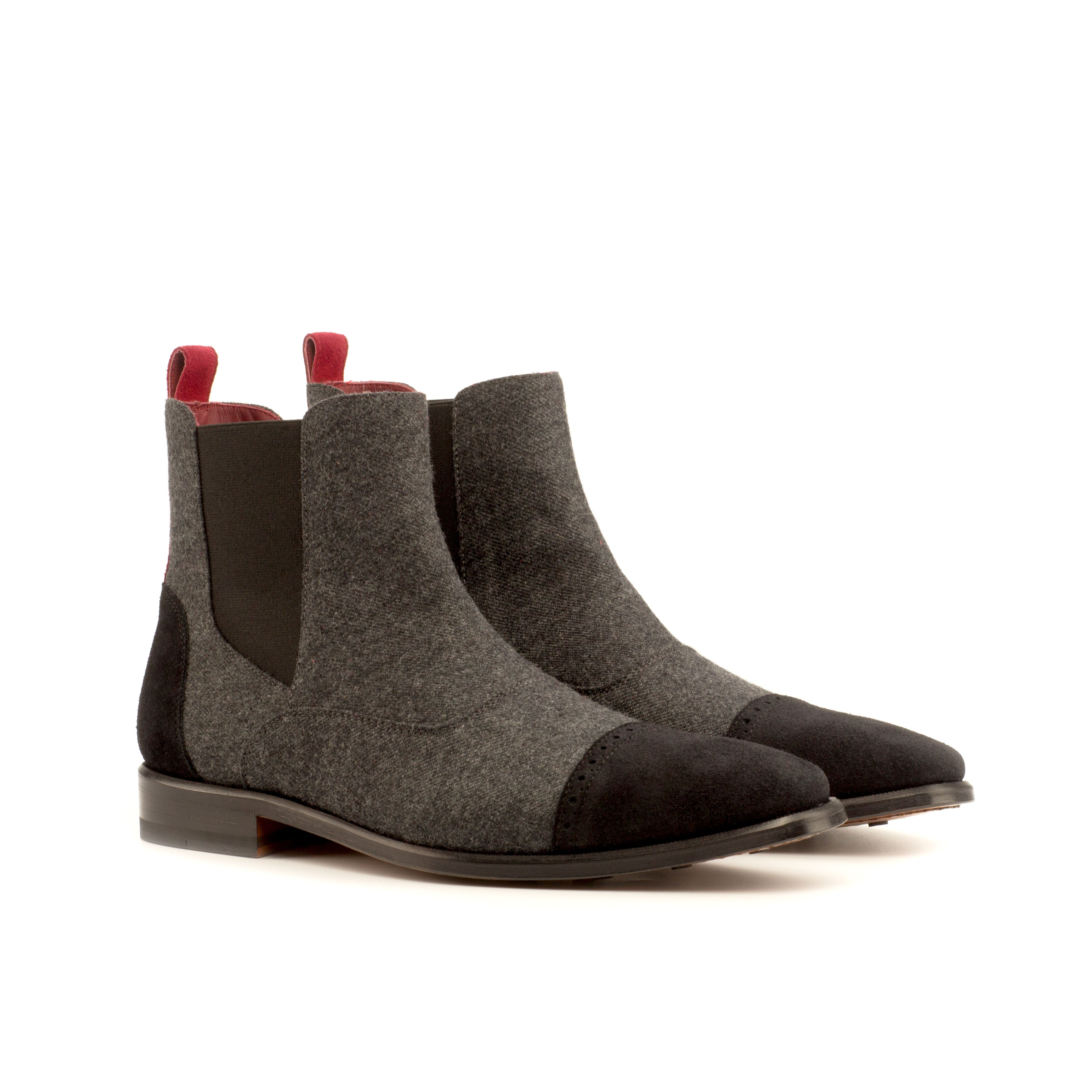 Austinite Grey Flannel and Black Suede Chelsea Boots