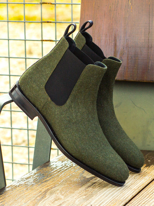 Houstonian Green Flannel Chelsea Boot